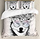 Ambesonne Alaskan Malamute Duvet Cover Set, Vintage Polka Dots Dog Wearing Floral Wreath and Sunglasses, Decorative 3 Piece Bedding Set with 2 Pillow Shams, Queen Size, Warm Taupe Black White