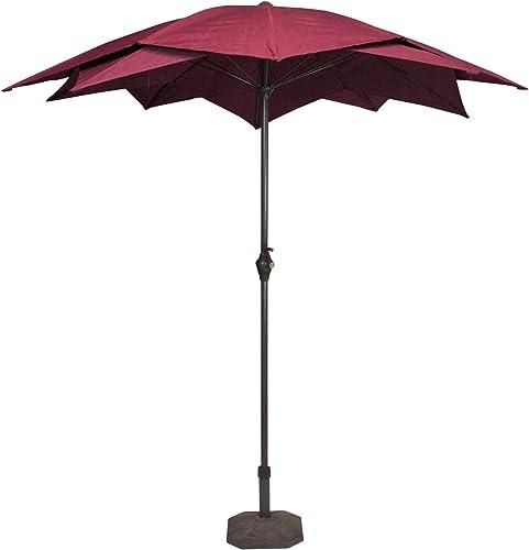 LB International 8.2 Outdoor Patio Lotus Umbrella with Hand Crank – Burgundy