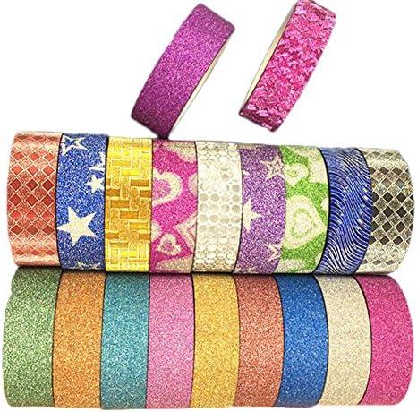 Ruikey テープ かわいいテープ マスキングテープ カラフルテープ 花紋 純色 2つデザイン 20巻セット