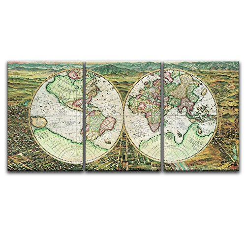 3 Panel Vintage World Map Gallery x 3 Panels