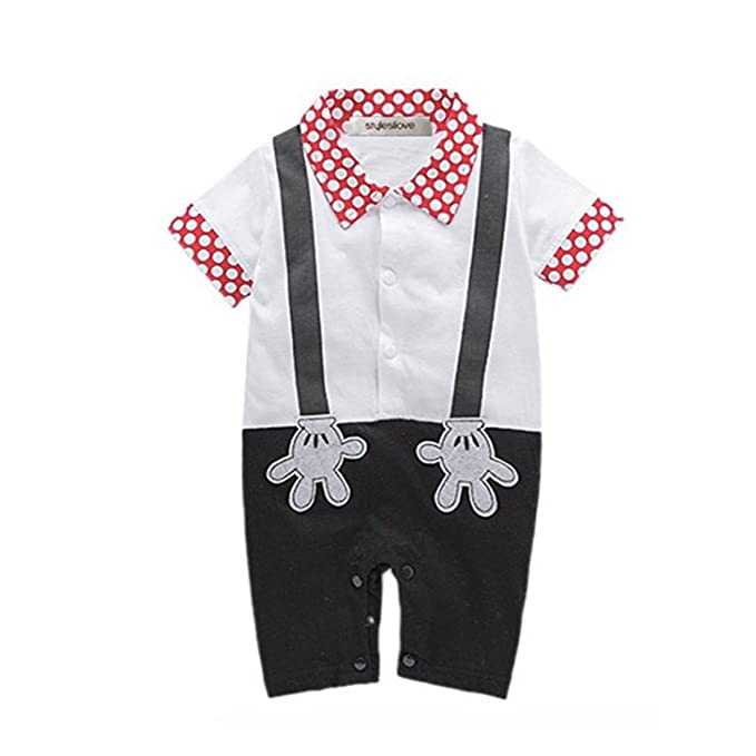 66275c329 Newborn Baby Boy Romper Rompers Tuxedo All-in-one Suit Bowtie Bodysuit (size