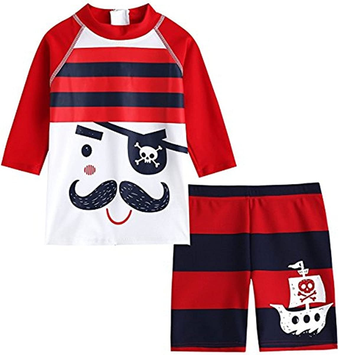 Baby Kids Boys Two Pieces Long Sleeve Cartoon Pirate Sun Protection Swimsuit Swimwear with Caps
