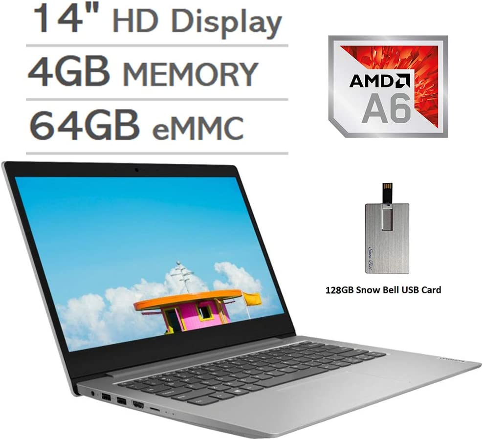 "2020 Lenovo IdeaPad 1 14"" HD Display Laptop Computer, AMD A6-9220e Processor, 4GB RAM, 64GB eMMC, AMD Radeon R4 Graphics, HDMI, Stereo Speakers, Windows 10 S, Gray, 128GB Snow Bell USB Card"