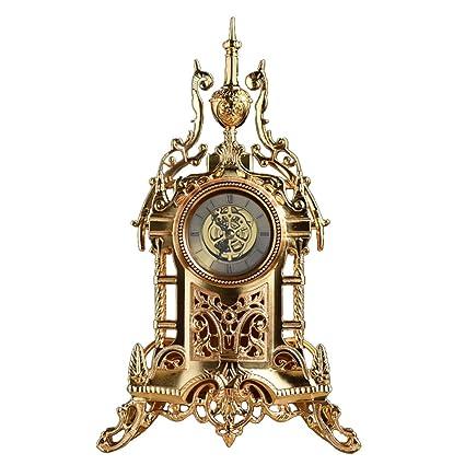 SESO UK- Relojes Decorativos Antiguos del Escritorio silencioso del Metal del Reloj de Mesa de