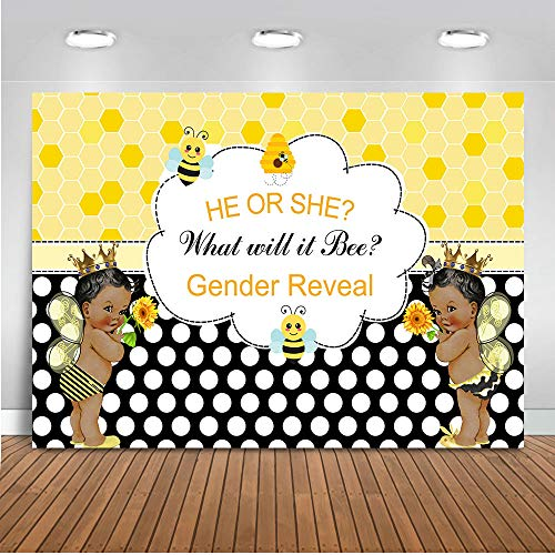 Mocsicka Bee Theme Gender Reveal Backdrop 7x5ft Vinyl Sweet As Can Bee African American Gender Surprise Photo Backdrop What Will It Bee Baby Shower Photography Background -