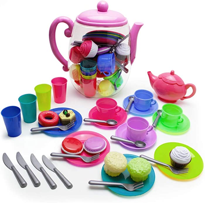 Boley Kitchen Toys Tea Party Set - Includes 1 Tea Pot and 38 Tea Accessories - Educational and Pretend Play Toys for Kids, Children, Toddlers - Durable Plastic Toy Set for Boys and Girls