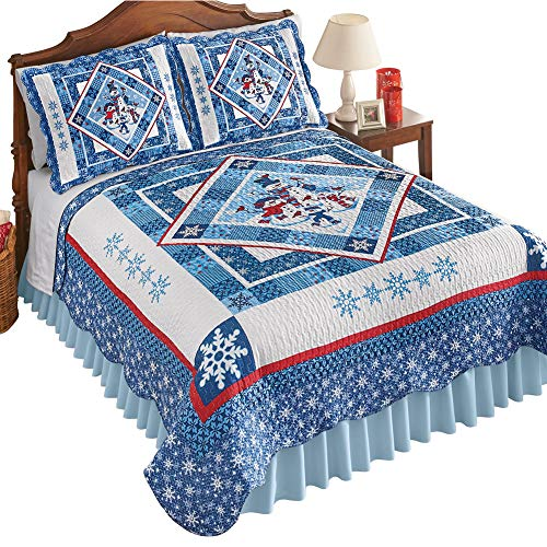 Collections Etc Snowman Family Reversible Patchwork Quilt with Scalloped Edges - Cute Winter Bedroom Decor, Blue and White, Twin ()