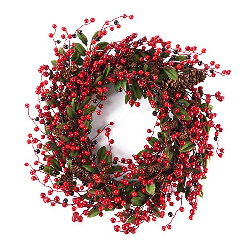 Door Wreath 24inches for All seasons (Berry) by LOUHO