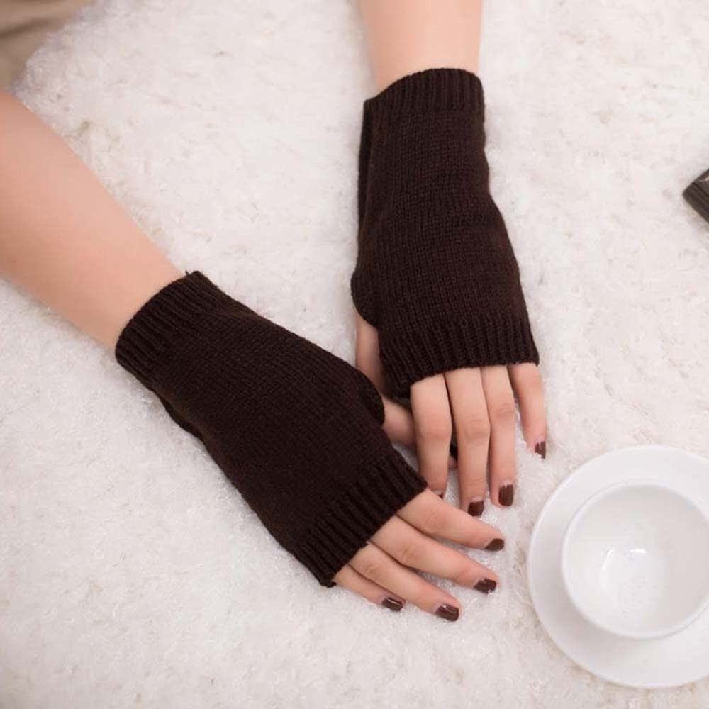 Women Winter Gloves Fingerless Knitted Wool Arm Warmer Solid Warm Thermal Long Mittens with Thumb Hole