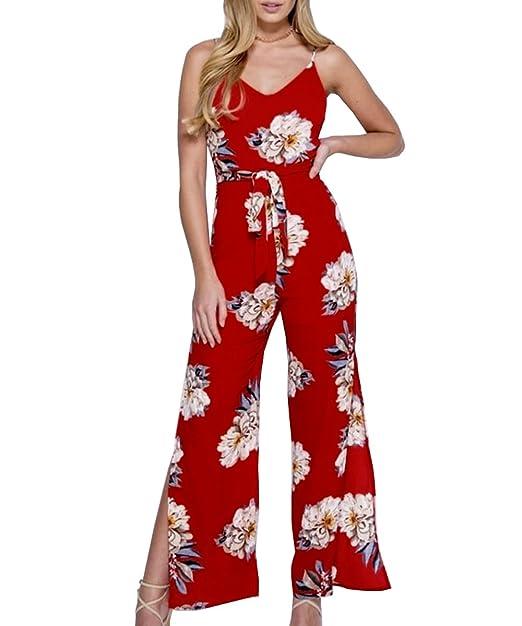 50234a4ed6ac Kinikiss Manica Tute Eleganti Corta da Donna Sexy Jumpsuits V Collo Elegante  Floreale Tuta Pantaloni Tutine  Amazon.it  Abbigliamento