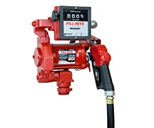 Fill-Rite FR711VA 115V 20GPM Fuel Transfer Pump with Discharge Hose, Auto Nozzle, & Mechanical Gallon Meter