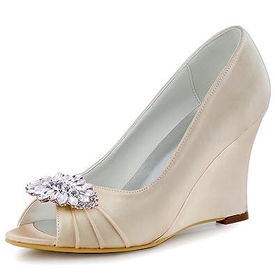 97c02d0eee4b ElegantPark EP2009AW Women Wedges Heel Leaf Clips Peep Toe Pumps Satin  Wedding Evening Dress Shoes Champagne