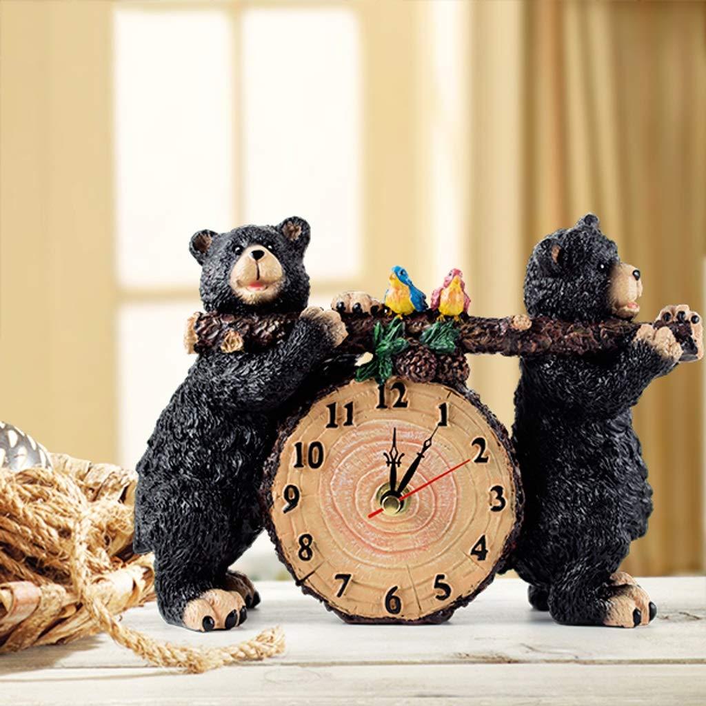 Xq European-Style Resin Clock Ornament Little Bear Shape Clock Fashion Creative Clock Living Room Bedroom Silent Wall Clock by Xq