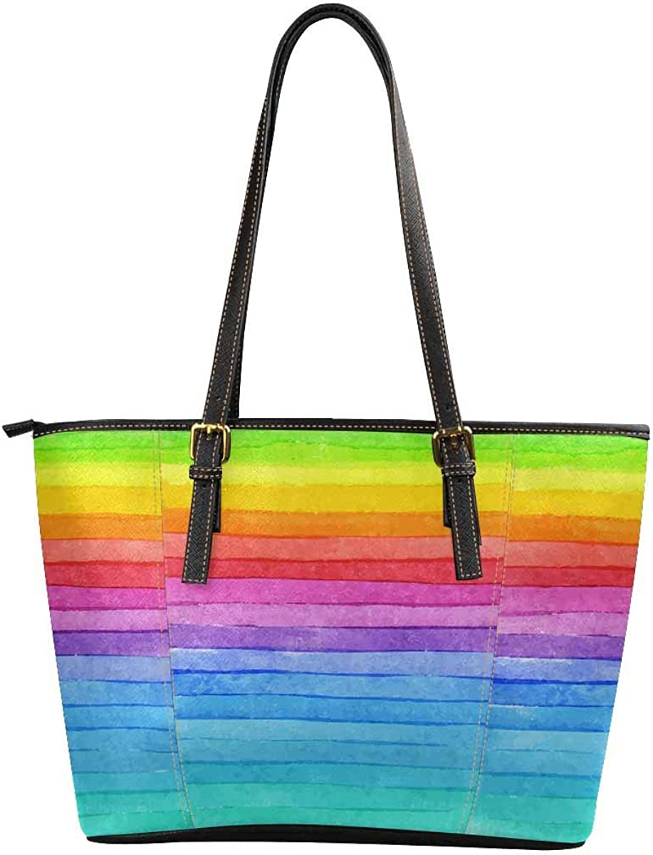 Womens Leather Handbags Shoulder Tote Striped Watercolor Rainbow Top Handles Bag Purse for School Travel