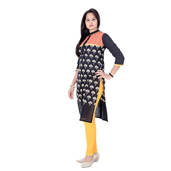 76070c3b884 DOIET Women Cotton PRINTED Casual Black kurti  Amazon.in  Clothing    Accessories
