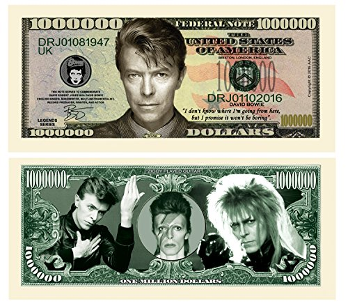 American Art Classics Pack of 50 - Limited Edition David Bowie Million Dollar Bill Novelty Note - Fantasy Notes - Collectible Novelty Million Dollar Bills - Best Gift for David Bowie Fans