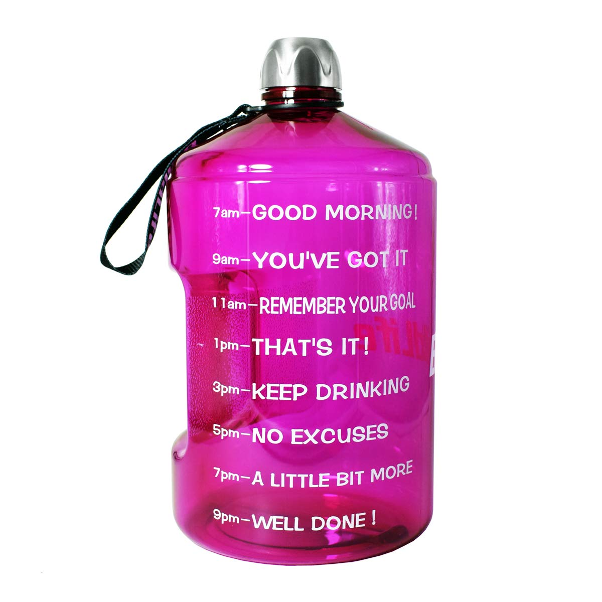 BuildLife 1 Gallon Water Bottle Motivational Fitness Workout with Time Marker |Drink More Water Daily | Clear BPA-Free | Large 128 Ounce/73OZ/43OZ of Water