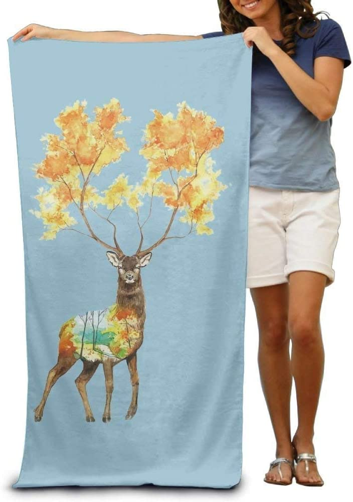 Gebrb Toallas de baño,Toalla de Playa,Manta de Playa Super Absorbent Beach Towel Oh My Deer Polyester Velvet Beach Towels 31