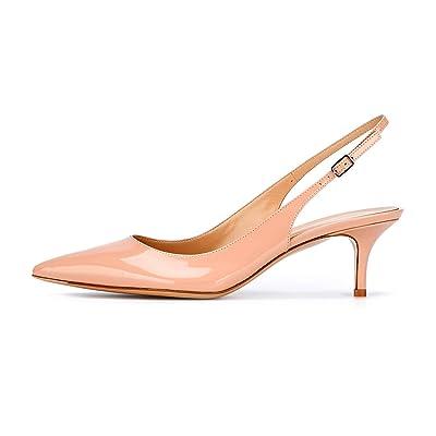 Eldof Women's Patent Leather Pointed Toe Slingback Ankle Strap Kitten Heels Pumps Evening Stiletto Shoes / 6.5cm | Pumps
