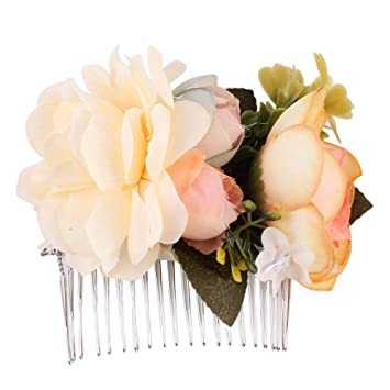 bf09518fd GLVSZ Women Handmade Bridal Silk Flower Hair Clips With Beads Simulated  Pearl Wedding Bridesmaid Accessories Big
