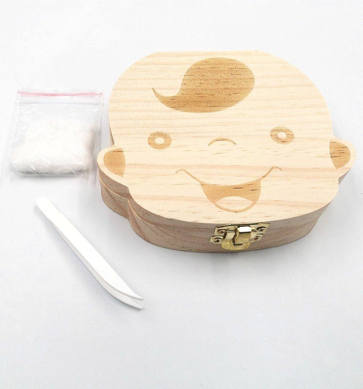 Junge Holz Zahndose Milchz/ähne Aufbewahrungsbox Z/ähne Haar Kasten Geschenk f/ür Baby Junge Geburtstag Taufe Babyparty Baby Shower Kinder Party JZK Englische Version