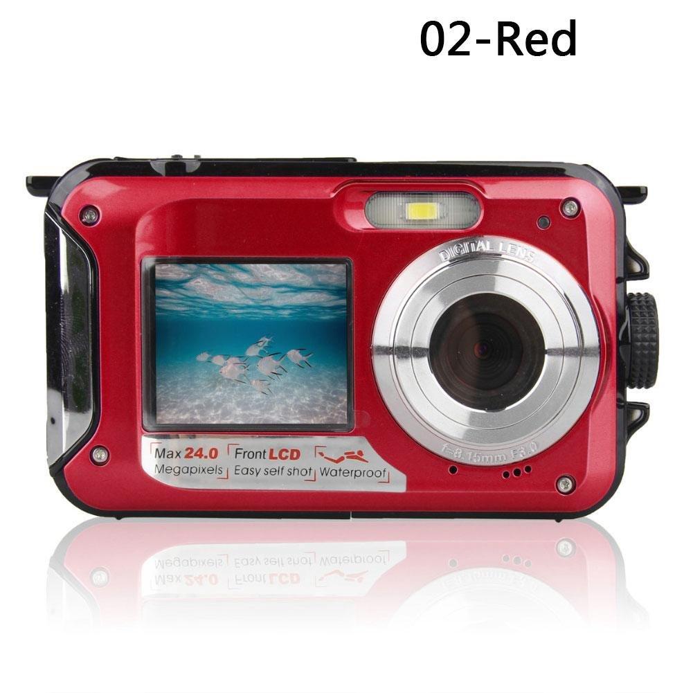 Eachbid Digital Video Recorder Cameras Waterproof Underwater Digital Camera 24MP 1080P Dual Screen Point and Shoot Red by Eachbid