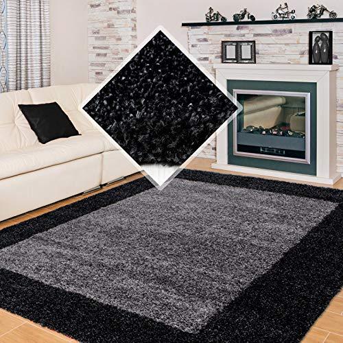 Carpet 1001 Hochflor Langflor Wohnzimmer Shaggy Teppich 2 Farbig Anthrazit Grau - 160x230 cm