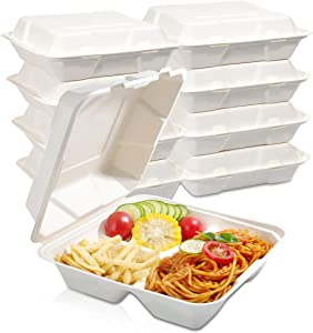 WDF 100Pack 100% Compostable Food Containers- 3 Compartment Biodegradable Clamshell Take Out Food Containers-8inch Togo Containers with Lid Made of Sugar Cane Fibers-Microwave Safe