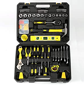 Ditole 108-piece Yellow General Hand Tool Kit for Home - Repair Tool Set with Plastic Tool Box Storage Case - Suitable for Home Repair, Car Repair, DIY, Etc. - Strong and Durable Home Tool Set