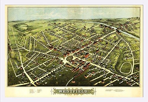 westfield-massachusetts-panoramic-map-36x24-giclee-art-print-gallery-framed-white-wood