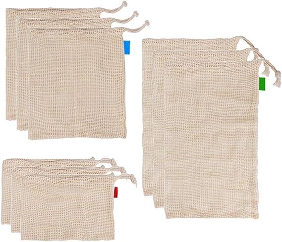 Hzb821zhup 9 bolsas de malla de algodón para alimentos, bolsa de compras grande, bolsa de malla para verduras, frutas, bolsas lavables respetuosas con el medio ambiente 9pcs: Amazon.es: Hogar