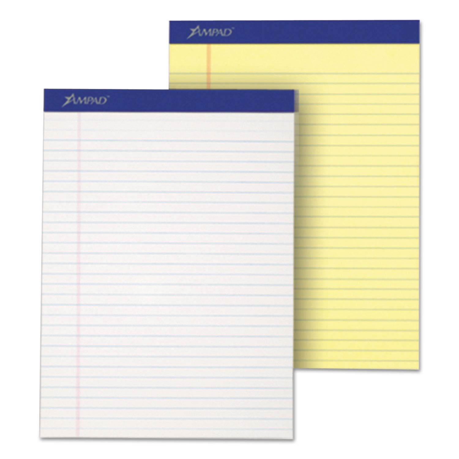 Ampad Perforated Writing Pad, 8 1/2 x 11 3/4, Canary, 50 Sheets, Dozen - 20220