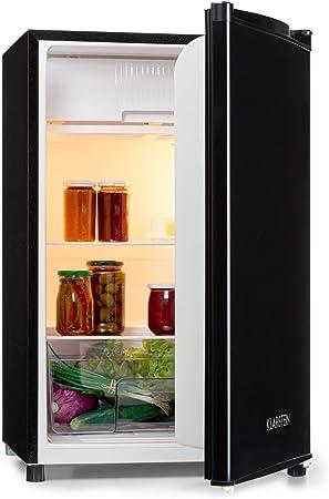 KLARSTEIN Samara Nevera - 120 litros de Volumen Interior útil, Eficiencia energética A+, Cajón para Verduras, Baldas de Vidrio, 3 Compartimentos en la Puerta, Iluminación Interior, Negro: Amazon.es: Hogar