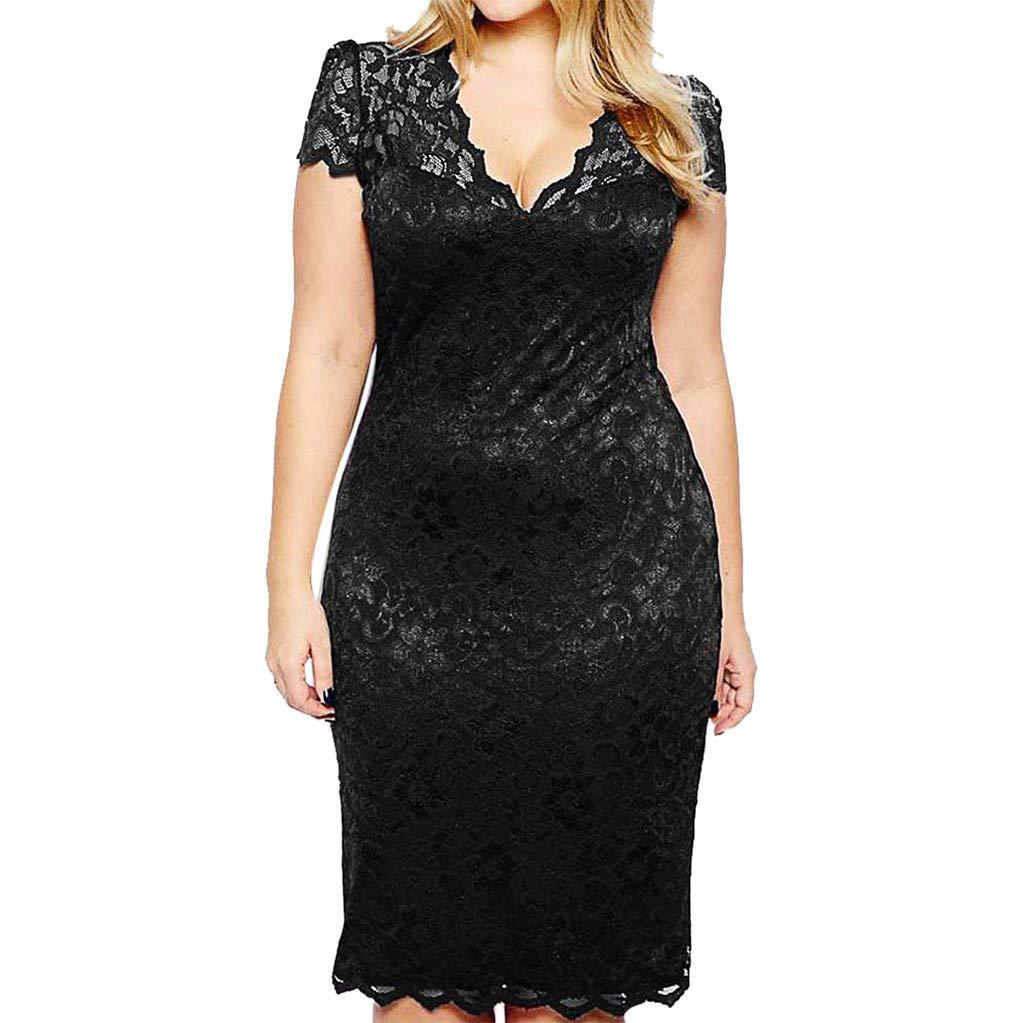 Women Fashion Sexy Lace Plue Size Solid Short Sleeve Dress,Selinora Lady's Summer V-Neck Openwork Mini Dress Black