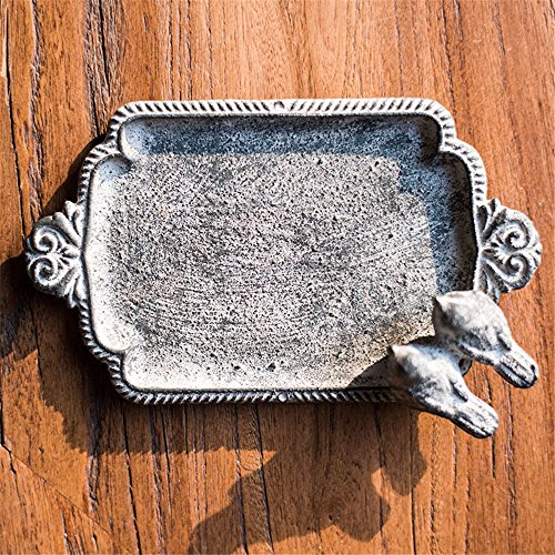 LOSTRYY Vintage cast iron soap box leaf bird decorate ashtray, 14.58.53CM