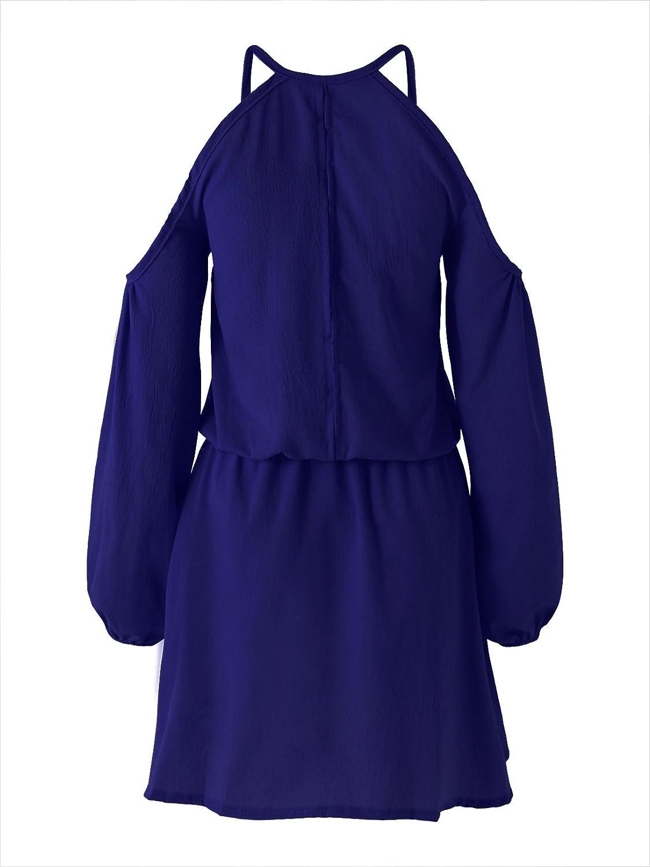 YOINS Donna Vestito a Spalle Scoperte Abito Mini Vestiti a Manica Lunga a Vita Alta Abiti da Spiaggia