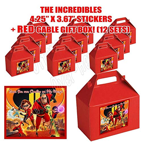 DWP-SP678-45RD THE INCREDIBLES Movie 2 Party Favor Boxes with Thank you Decals Stickers Loots Red Birthday Mr. Incredible, Elastigirl, Dash, Violet, Jack Jack 12 PIECES GREAT SELLER …