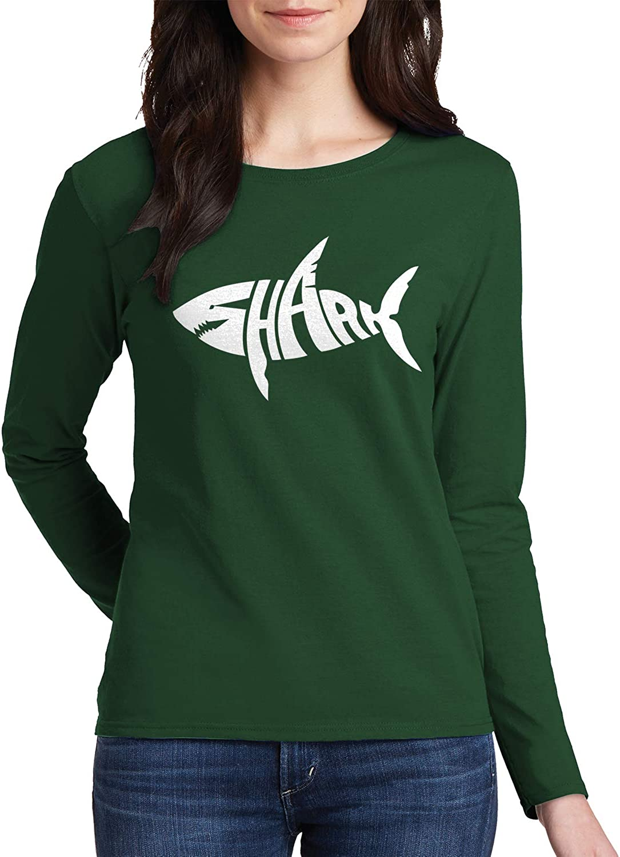 Threadrock Women's Shark Typography Long Sleeve T-Shirt