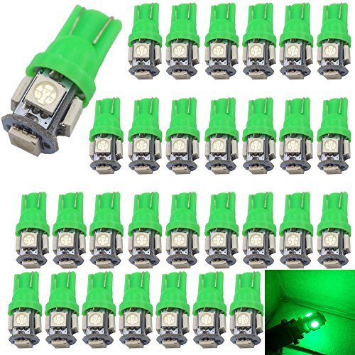 30-Pack 194 LED Light 12V,120Lums AMAZENAR Car Interior and Exterior T10 5-SMD 5050 Chips Replacement For W5W 168 2825 Map- Dome- Courtesy- License Plate- Dashboard Side Marker Light