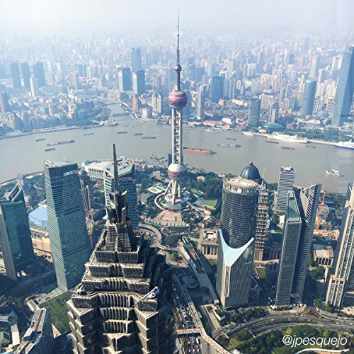 (Quality Prints - Laminated 24x24 Vibrant Durable Photo Poster - Shanghai World Financial Center Observatory, China Adventures of JPE)
