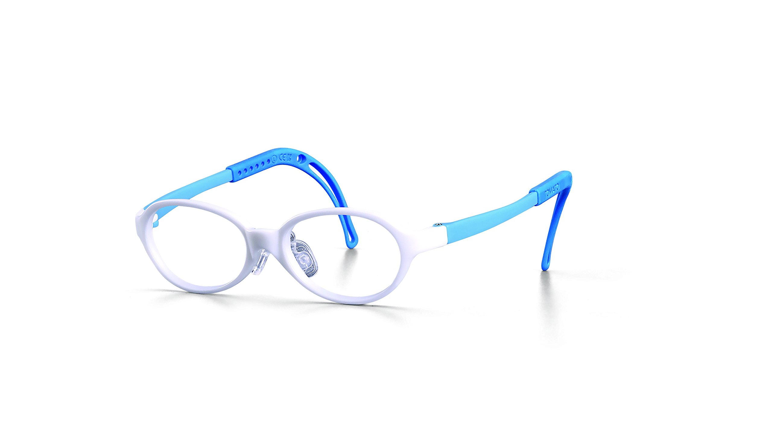 Eyeglass Frames for Kids, TKAC9-40, White Frame-Blue Stick, Light Weight, Comfortable Material, Highly Durable, Flexible, with Adjustable Nose Pad & Ear Tip, Shape intelligence and Resilience