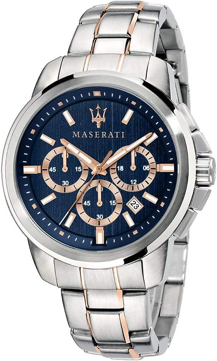 Reloj para Hombre, Colección Successo, con Movimiento de Cuarzo y función cronógrafo, en Acero y pvd Oro Rosa - R8873621008