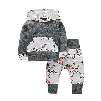 Beikoard - Juego de ropa para niña, 2 piezas, para bebé o niña, sudadera con capucha y pantalones, diseño de flores: Amazon.es: Jardín