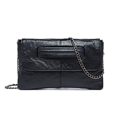 921428b3857f NIGEDU Women s Shoulder Bags Stylish Genuine Leather Envelope Clutch Chain Cross  Body Bag (Black)