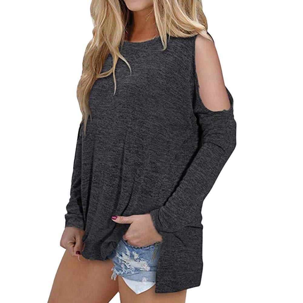 Liraly Womens Tops New Fashion Off The Shoulder Tops Women Casual Shoulder Long Sleeve T-Shirt Tops Tunic Blouse