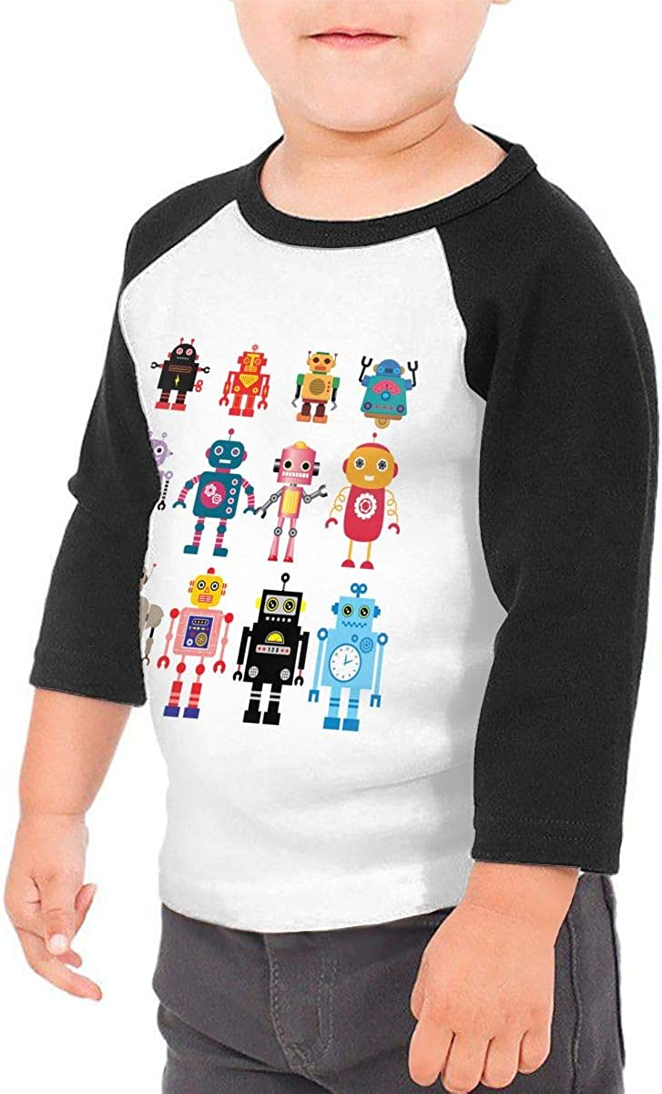 HIGASQ Unisex Baby Colorful Cute Robot Toddlers O Neck Raglan 3//4 Sleeve Baseball T Shirt for 2-6 Boys Girls
