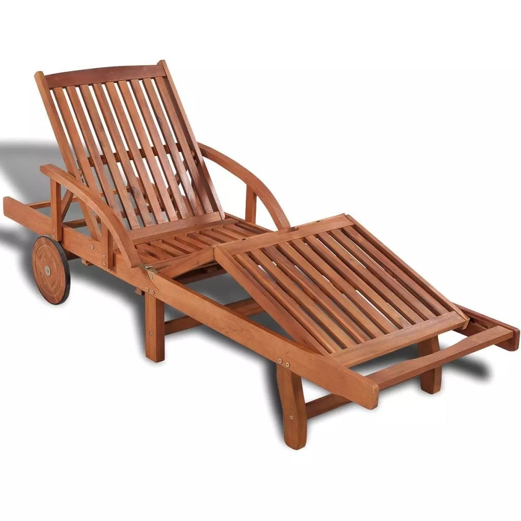 Festnight Outdoor Patio Chaise Lounge Chairs with 2 Wheels, Sun Lounger Solid Acacia Wood 78.7'' x 26.8'' x 32.7'' (type1)