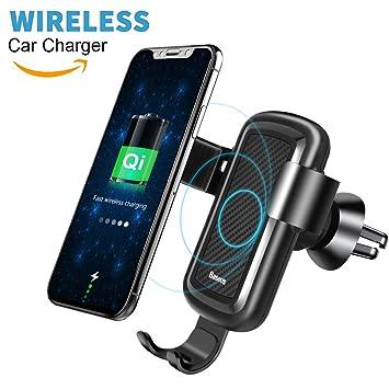 Cargador Inalambrico Coche, Baseus Qi Cargador Inalambrico Movil con Soporte de Teléfono, Inalámbrico Cargador 10W para Samsung Galaxy Note 8/S8/S7/S6 ...