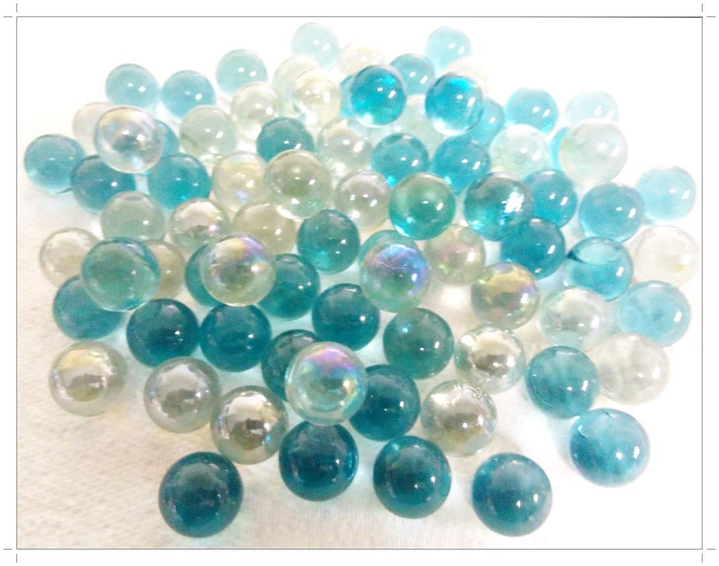 Gems Icy Blue Stones Nuggets 100 x Glass Pebbles