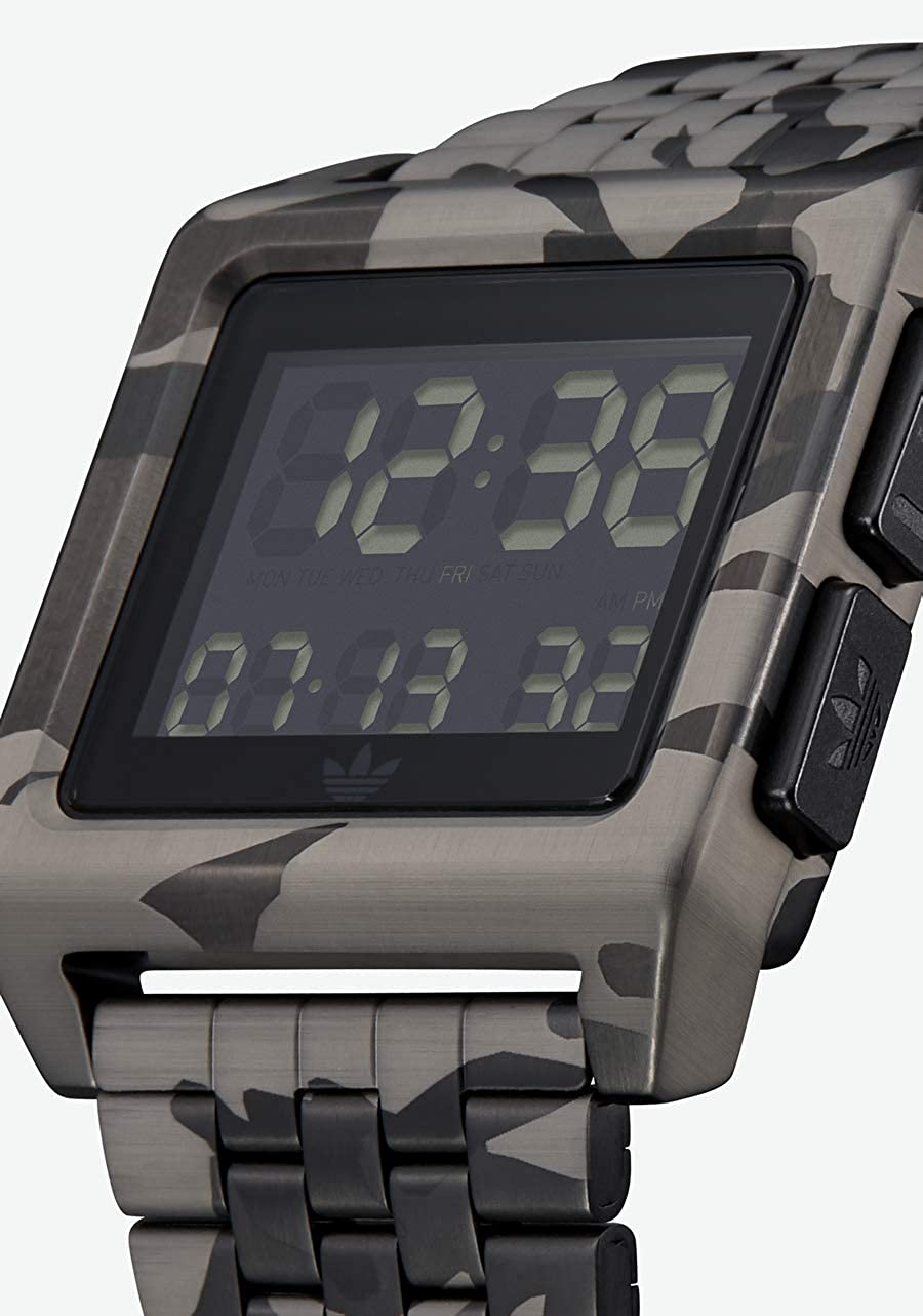 Adidas Watches Archive_M1. Men's 70's Style Stainless Steel Digital Watch with 5 Link Bracelet (36 mm). Camo